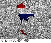 Karte und Fahne von Thailand auf Mohn - Map and flag of Thailand on... Стоковое фото, фотограф Zoonar.com/lantapix / easy Fotostock / Фотобанк Лори