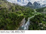 Cascade of waterfalls , Shinok River, Tog-Altai. Altai Republic, Russia. Стоковое фото, фотограф Olga Kamenskaya / Nature Picture Library / Фотобанк Лори