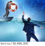 Businessman being saved from drowning. Стоковое фото, фотограф Elnur / Фотобанк Лори
