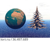 Planet in christmas party isolated in snow blue background. Стоковое фото, фотограф Zoonar.com/Sprunger Marie / easy Fotostock / Фотобанк Лори