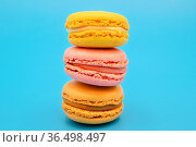 Stack of sweet french macaroons with vintage pastel colored tone on... Стоковое фото, фотограф Zoonar.com/DAVID HERRAEZ CALZADA / easy Fotostock / Фотобанк Лори