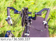 fragment of the chain drive of a recumbent bike on a green background. Стоковое фото, фотограф Акиньшин Владимир / Фотобанк Лори