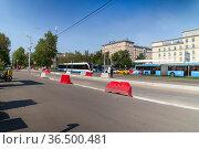 Modern tram on a Moscow street, Russia. Редакционное фото, фотограф Владимир Журавлев / Фотобанк Лори
