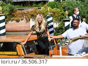 Tennis player Camila Giorgi arrives in Darsena. 78th Venice International... Редакционное фото, фотограф Antonelli / AGF/Maria Laura Antonelli / age Fotostock / Фотобанк Лори
