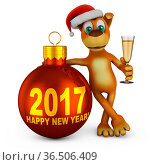 Cartoon dog in a Santa hat with a glass of wine near Christmas-tree... Стоковое фото, фотограф Zoonar.com/Roman Ivashchenko / easy Fotostock / Фотобанк Лори