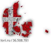 Karte und Fahne von Dänemark auf Mohn - Map and flag of Denmark on... Стоковое фото, фотограф Zoonar.com/lantapix, / easy Fotostock / Фотобанк Лори