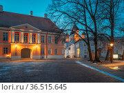 Tallinn, Estonia. Evening View Of Street Near Alexander Nevsky Cathedral... Стоковое фото, фотограф Ryhor Bruyeu / easy Fotostock / Фотобанк Лори