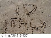Italy, spanien, sand, strand, sandstrand, schrift, urlaub, ferien... Стоковое фото, фотограф Zoonar.com/Volker Rauch / easy Fotostock / Фотобанк Лори