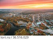 Dobrush, Gomel Region, Belarus. Aerial View Of Dobrush Cityscape Skyline... Стоковое фото, фотограф Ryhor Bruyeu / easy Fotostock / Фотобанк Лори