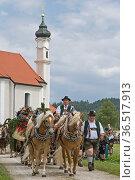 Viele Pferdegespanne fahren im Juli in Dietramszell auf Wallfahrt... Стоковое фото, фотограф Zoonar.com/Eder Christa / age Fotostock / Фотобанк Лори