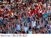 Fanjubel mit la-ola-Welle in Freiburg - Fussball: Testspiel - SC ... Стоковое фото, фотограф Zoonar.com/Joachim Hahne / age Fotostock / Фотобанк Лори