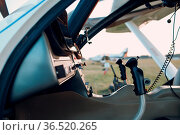 RUSSIA, MOSCOW - AUGUST 1, 2020: Cockpit view from small private single... Стоковое фото, фотограф Zoonar.com/Max / easy Fotostock / Фотобанк Лори
