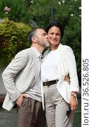 Massimiliano Gallo with wife Shalana Santana arrive at the Darsena... Редакционное фото, фотограф Maria Laura Antonelli / AGF/Maria Laura Antonelli / age Fotostock / Фотобанк Лори