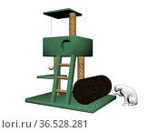 Cat tree with a white cat on it isolated in white background. Стоковое фото, фотограф Zoonar.com/Sprunger Marie / easy Fotostock / Фотобанк Лори