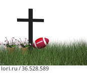 Sports accident symbolized by a cross anf flowers isolated in white... Стоковое фото, фотограф Zoonar.com/Sprunger Marie / easy Fotostock / Фотобанк Лори