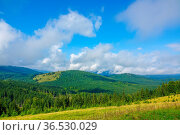 Summer in the forested mountains. Clouds in the blue sky. The sun... Стоковое фото, фотограф Zoonar.com/Mikhail Pavlov / easy Fotostock / Фотобанк Лори