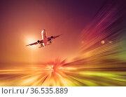 Airliner in motion in sky. Стоковое фото, фотограф Яков Филимонов / Фотобанк Лори