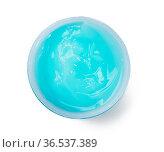 Blue moisturizing translucent cream in a plastic jar, top view. Стоковое фото, фотограф Zoonar.com/Danko Natalya / easy Fotostock / Фотобанк Лори