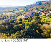 Aerial view of houses and nature of Catalan village Vilanova de Sau. Стоковое фото, фотограф Яков Филимонов / Фотобанк Лори