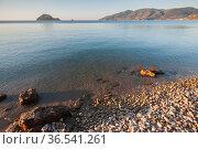 Coastal landscape with a pebble beach of Zakynthos (2016 год). Стоковое фото, фотограф EugeneSergeev / Фотобанк Лори