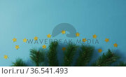 Fir tree branches with stars and copy space on blue background. Стоковое видео, агентство Wavebreak Media / Фотобанк Лори