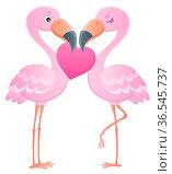 Valentine flamingos topic image 7 - picture illustration. Стоковое фото, фотограф Zoonar.com/Klara Viskova / easy Fotostock / Фотобанк Лори