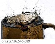 Sweet cold lemonade in a dark glass. Стоковое фото, фотограф Владимир Белобаба / Фотобанк Лори