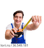 Man with tape measure isolated on white. Стоковое фото, фотограф Elnur / Фотобанк Лори