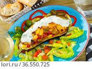 Tasty eggplant stuffed with vegetables and cheese. Стоковое фото, фотограф Яков Филимонов / Фотобанк Лори