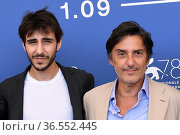 The director Yvan Attal (R) with son Ben Attal during the photocall... Редакционное фото, фотограф Maria Laura Antonelli / AGF/Maria Laura Antonelli / age Fotostock / Фотобанк Лори