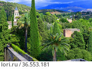 View from Alcazaba at Alhambra fortress in Granada, Andalusia,Spain. Стоковое фото, фотограф Frederic Soreau / age Fotostock / Фотобанк Лори