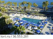 The Swimming pool of Gran Hotel Miramar in Malaga,Andalusia,Spain. Стоковое фото, фотограф Frederic Soreau / age Fotostock / Фотобанк Лори