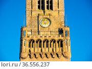Detail of the Belfort van Bruges - Bruges Belfry in the Grote Markt... Стоковое фото, фотограф Zoonar.com/Yuri Dmitrienko / easy Fotostock / Фотобанк Лори