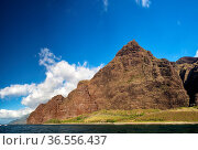 Blick vom Meer aus auf die berühmte Na Pali Coast an der Nordostküste... Стоковое фото, фотограф Zoonar.com/Dirk Rueter / easy Fotostock / Фотобанк Лори