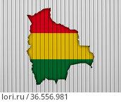 Karte und Fahne von Bolivien auf Wellblech - Map and flag of Bolivia... Стоковое фото, фотограф Zoonar.com/lantapix / easy Fotostock / Фотобанк Лори