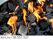 Angzündete Holzkohle mit Flammen auf dem Grill. Стоковое фото, фотограф Zoonar.com/Nailia Schwarz / age Fotostock / Фотобанк Лори