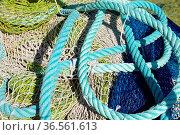 Fischernetz, netz, fischen, hafen, blau, fischerhafen, fischfang,... Стоковое фото, фотограф Zoonar.com/Volker Rauch / easy Fotostock / Фотобанк Лори