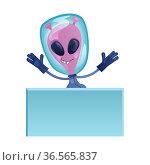Martian with blank banner flat cartoon vector illustration. Extraterrestrial... Стоковое фото, фотограф Zoonar.com/Natalia Nesterenko / easy Fotostock / Фотобанк Лори