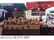 Puesto de venta de pan en el Borough Market, Southwark, Londres, UK. Стоковое фото, фотограф Eduardo Dreizzen / age Fotostock / Фотобанк Лори