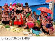 Lao Cai province, Bac Ha, weekly market for tribal people, flower... (2008 год). Редакционное фото, фотограф Chew Chun Hian / age Fotostock / Фотобанк Лори