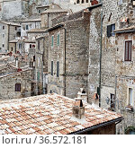 Aerial View on the Roofs of the City of Sorano in Italy, Vintage Style... Стоковое фото, фотограф Zoonar.com/gkuna / easy Fotostock / Фотобанк Лори