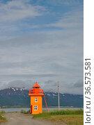 Leuchtturm, Svalbarðseyri , Akureyri, Island, svalbardseyri, fjord... Стоковое фото, фотограф Zoonar.com/Volker Rauch / easy Fotostock / Фотобанк Лори