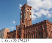 Rotes Rathaus meaning The Red Town Hall in Berlin, Germany. Стоковое фото, фотограф Claudio Divizia / easy Fotostock / Фотобанк Лори