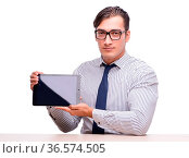Handsome businessman working with tablet computer isolated on white. Стоковое фото, фотограф Zoonar.com/Elnur Amikishiyev / easy Fotostock / Фотобанк Лори