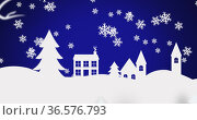 Digital image of snow flakes falling over winter landscape against blue background. Стоковое фото, агентство Wavebreak Media / Фотобанк Лори