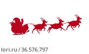 Digital image of red silhouette of santa claus in sleigh being pulled by reindeers against white. Стоковое фото, агентство Wavebreak Media / Фотобанк Лори