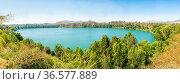Panoramic view of the beautiful Babogaya Lake in Beshoftu (Debre Zeit... Стоковое фото, фотограф Zoonar.com/Dereje Belachew / easy Fotostock / Фотобанк Лори