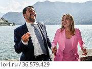 Leader of Lega party Matteo Salvini, Leader of Fratelli D'Italia ... Редакционное фото, фотограф Nicola Marfisi / AGF/Nicola Marfisi / AGF / age Fotostock / Фотобанк Лори