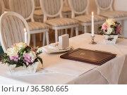Leeres Standesamt - warten auf das Brautpaar und die Gäste. Стоковое фото, фотограф Zoonar.com/Hans Eder / age Fotostock / Фотобанк Лори