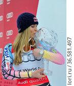 Lindsey Vonn, Siegerehrung, Fis-Weltcupfinale, 2010, Garmisch-Partenkirchen... Стоковое фото, фотограф Zoonar.com/GUENTER LENZ / age Fotostock / Фотобанк Лори